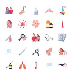 Prevention covid 19 virus flat style icon set vector