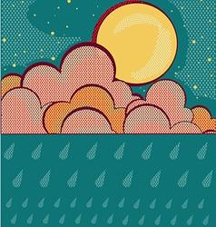 Raining retro nature sky background vector image