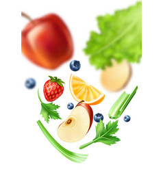 realistic healthy food organic fruit mix vector image