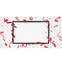 Red ribbon with confetti with space for text vector