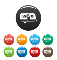 Retro travel trailer icons set color vector