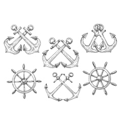 Sailing ships helms and crossed anchors sketches vector