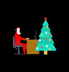 Santa claus at work at computer christmas work vector