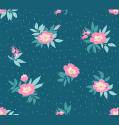 Seamless pattern with wild roses on the dark blue vector