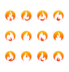 set fire flame logo design template icon symbol vector image