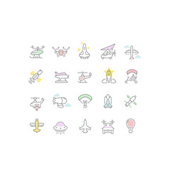 Set line icons aircraft vector