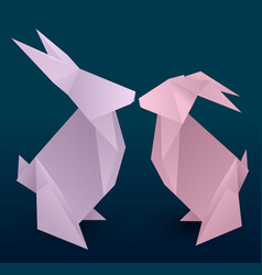 Set of couple origami hare vector