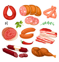 set of meat products of sausages vector image