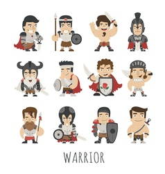 Set of warrior costume characters vector image