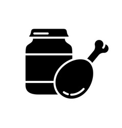 Silhouette meat bafood outline icon of vector