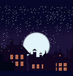 silhouette of the city and night sky with stars vector image