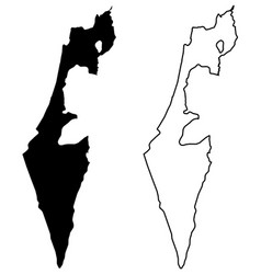 Simple only sharp corners map - state israel vector