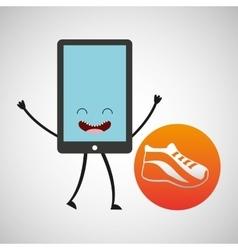 Smartphone cartoon with running app sport vector