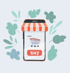 smartphone with shopping vector image