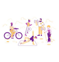 sport activities set people doing sports vector image