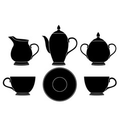 Tea set black silhouette icons vector