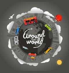 Travel around earth around world vector