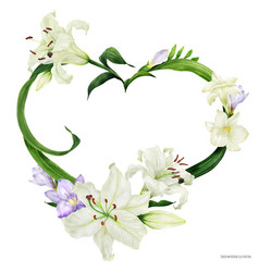 Tropical heart wreath with oriental lily and vector