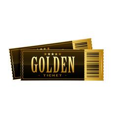 Vintage golden cinema tickets movie pass template vector
