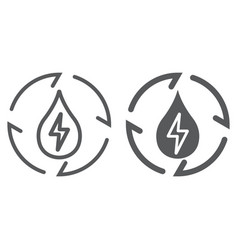Water energy line and glyph icon ecology vector