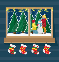 window socks for gifts with the view vector image