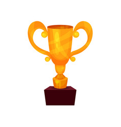 winner cup on a pedestal golden first place prize vector image