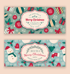 winter objects pattern and greeting text vector image
