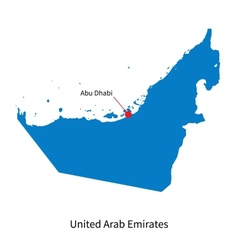 Detailed map of United Arab Emirates and capital vector image vector image