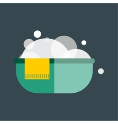 Green plastic wash bowl isolated vector