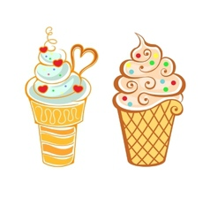 Ice cream in cartoon style vector image vector image