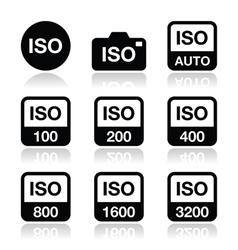 Iso - camera film speed standard icons set vector