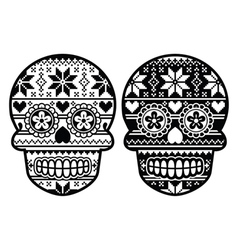 Mexican black sugar skull with winter pettern vector image vector image