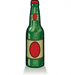 old style green beer bottle vector image