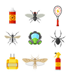 pest control flat icon set vector image