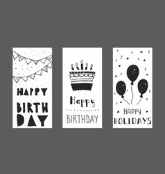 set of birthday greeting cards design vector image vector image