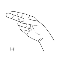 Sign language and the alphabetThe Letter h vector image vector image