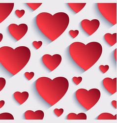 Valentine seamless background with 3d hearts vector image vector image