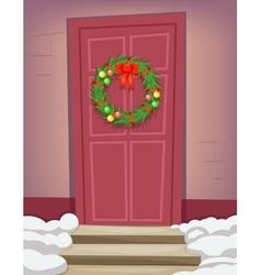 Christmas new year dinner celebration door vintage vector