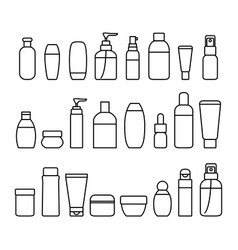 cosmetic bottles signs black thin line icon set vector image