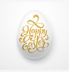 easter egg with holiday greeting golden lettering vector image vector image