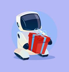 Modern robot hold gift box futuristic artificial vector