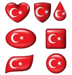 Turkey flag in various shape glossy button vector image vector image