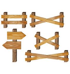 fence wooden signboards arrow sign barrage vector image vector image