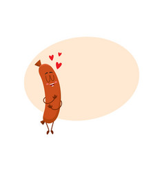 funny sausage character with human face huging vector image vector image