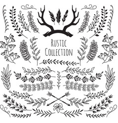hand drawn vintage branches wreath border frames vector image vector image