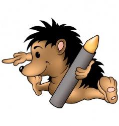 hedgehog and wax crayon vector image