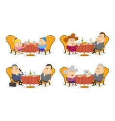 People at the tables set isolated vector