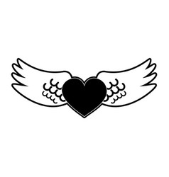 angels wings with heart vector image