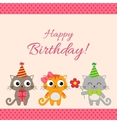 Birthday party card with cats vector image vector image
