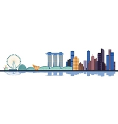 Color singapore city skyline vector image